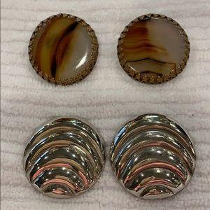 Vintage clips earrings, two pair